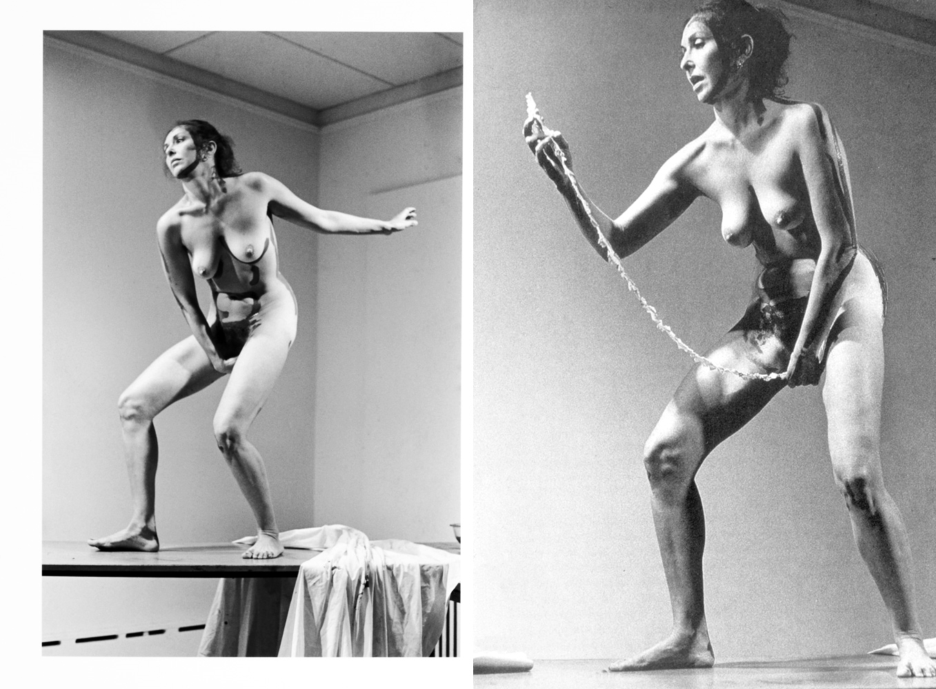 Carolee Schneeman pulling a scroll out of her vagina